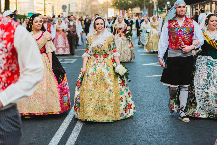 Traditional dresses during Fallas Festival in Valencia