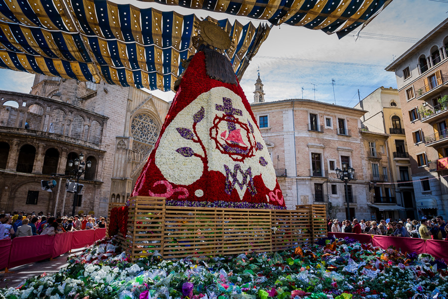 Flower Offering during Las Fallas Valencia