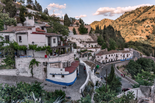 View over Sacromonte in Granada, Andalucia, Spain. Moorish achtitecture and cave houses still available and people living in them